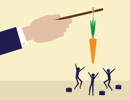 A large hand holds a carrot on a stick while his employees try to get it. A metaphor on management and leadership. Vectores