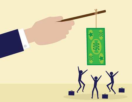 A large hand holds a cash note on a stick while his employees try to get it. A metaphor on management, leadership and financial incentive.
