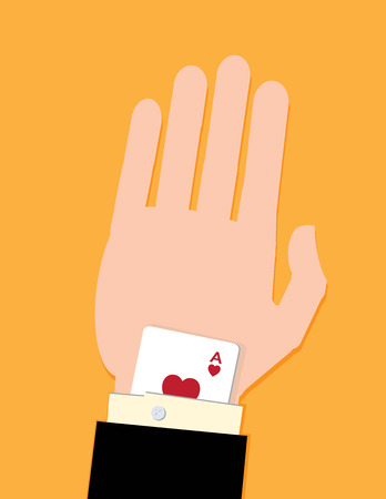 A man in a suit with a card up his sleeve. A metaphor on business success.