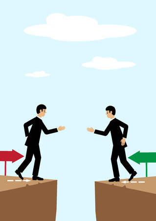 either: Two businessmen on either side of a divide reach agreement with a handshake. Illustration