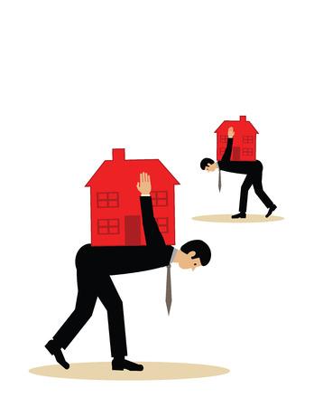 equidad: Dos hombres con casas sobre sus espaldas. Una ilustración vectorial de una carga de la deuda hipotecaria.