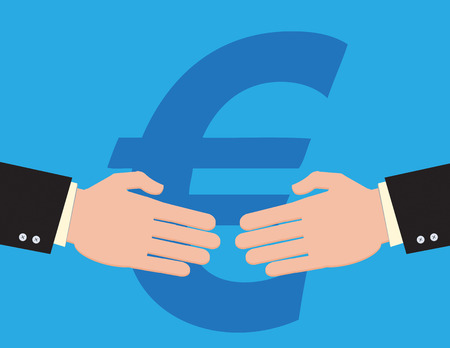 business symbols metaphors: An illustration of two businessmen about to shake hands on a deal, with a Euro symbol behind them.