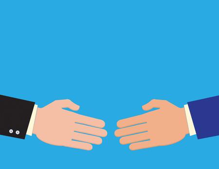 divide: Two businessmen reach agreement on a deal with a handshake. Illustration