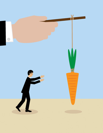 A large hand holds a carrot on a stick while his employees try to get it. A metaphor on management and leadership. Illustration