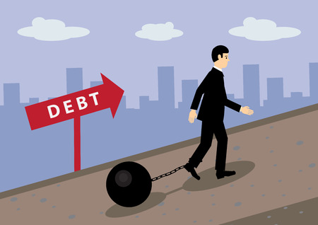 A vector illustration of a businessman walking up hill, with a ball and chain attached to his leg. A metaphor on financial debt.