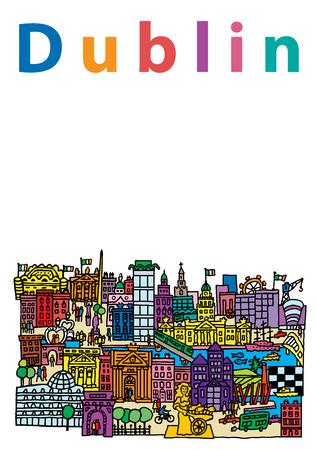 dublin: A cartoon style, vector illustration of Dublin City, Ireland.