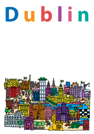tourist bus: A cartoon style, vector illustration of Dublin City, Ireland.