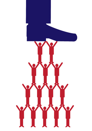 A vector illustration of a large bosss shoe supporting or putting pressure on his team of workers.                                 A metaphor on teamwork and managerial support.