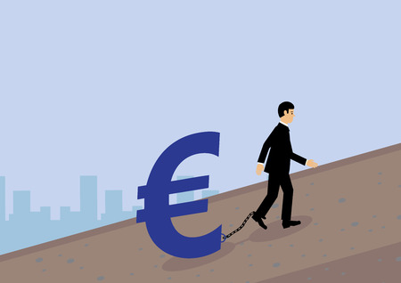 volatility: A businessman dragging a Euro symbol that is chained to his leg up a hill. A metaphor for Euro currency finance and volatility.