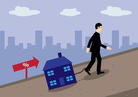 A businessman dragging a house chained to his leg up a hill. A metaphor for mortgage rate increases and debt.