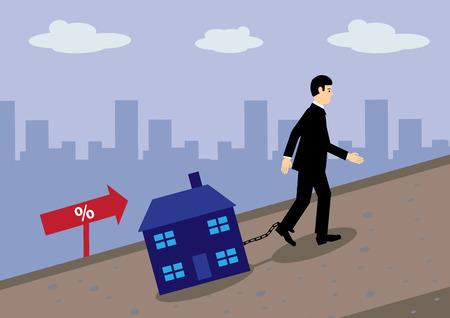 geketend: Een zakenman slepen van een huis geketend aan zijn been op een heuvel. Een metafoor voor de hypotheekrente stijgt en schulden.
