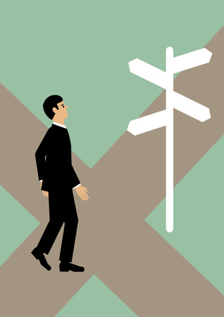 sure: A businessman at a cross roads, not sure which path to take. A metaphor on financial decisions.