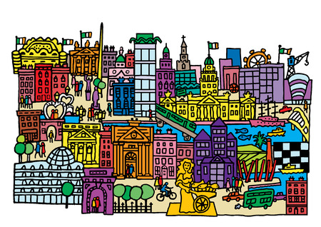 A cartoon style, vector illustration of Dublin City, Ireland.