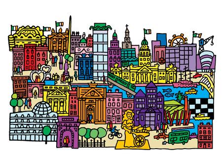 Un estilo de dibujos animados, ilustración vectorial de la ciudad de Dublín, Irlanda. Foto de archivo - 39384895