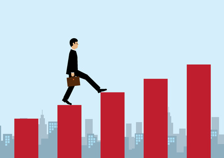 ingenuity: A vector illustration of a businessman stepping up red columns with a cityscape behind him. A metaphor on business success.