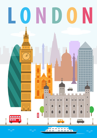 london england: A illustration of London of England and some of its landmark architecture. Illustration