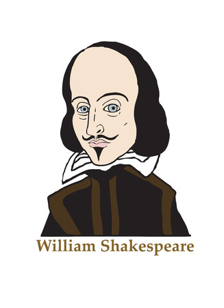 hamlet: A vector illustration of the Elizabethan writer, William Shakespeare.