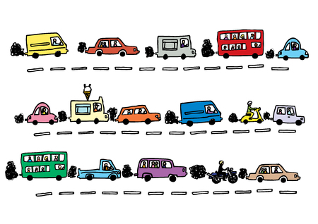 A hand drawn vector illustration of traffic in lanes and exhaust fumes.