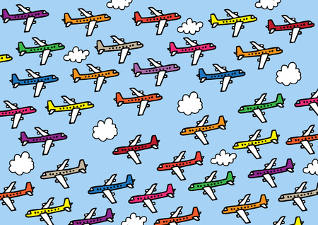 passenger transportation: A hand drawn vector illustration of lots of planes flying in a very crowded airspace.