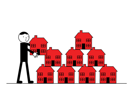 home finances: A man puts another house purchase on to his property portfolio. A metaphor on building a buy to let business.