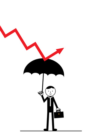 business metaphor: A businessman holding an umbrella, that protects him from a falling market arrow. A metaphor on business and market protection. Illustration