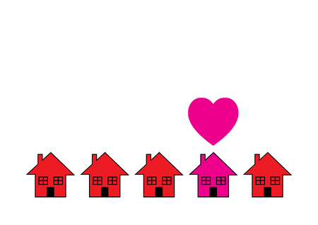 home finances: A row of similar houses with on in pink with a love heart over it. A metaphor on finding the right property. Illustration