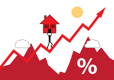 intrest: A house symbol being carried up a rising graph. A metaphor on rising house values and cost. Illustration