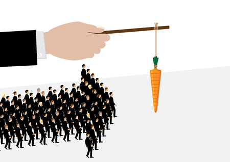 A large hand holds a carrot on a stick while his employees follow it in the shape of an arrow. A metaphor on management and leadership. Vectores