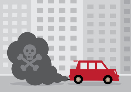 exhaust: A diesel cars toxic exhaust fumes containing a by a skull and cross bones. Illustration
