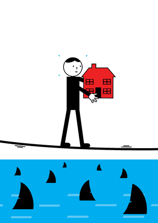 business risk: A businessman walking a tightrope over shark infested waters. A metaphor on high risk financial strategy. Illustration
