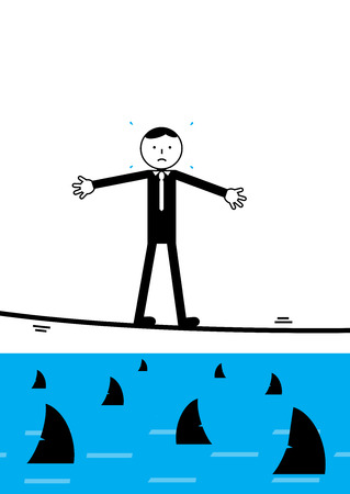 metaphor: A businessman walking a tightrope over shark infested waters. A metaphor on high risk financial strategy. Illustration