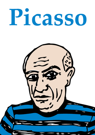 A hand drawn vector illustration of the artist Pablo Picasso. Фото со стока