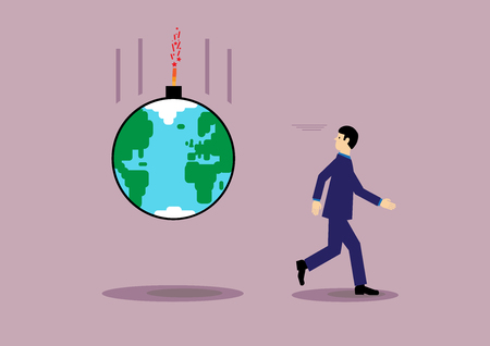 global finance: A vector illustration of a man running from a bomb with an image of the earth, that is about to explode. A metaphor on global finance, debt, risk and environment.