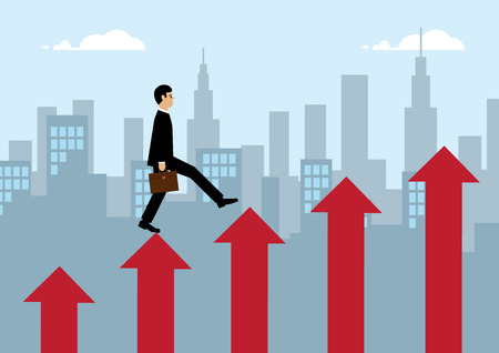 business metaphor: A vector illustration of a businessman, stepping up red columns of arrows with a cityscape behind him. A metaphor on business success. Illustration