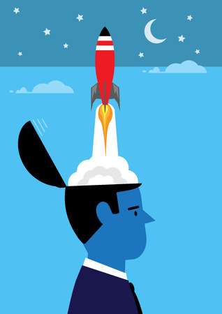 blast off: A metaphor on the inspiration moment when an idea takes off. Illustration