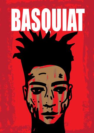 Een hand getrokken vector illustratie van de beroemde graffiti kunstenaar, Jean Michel Basquiat.