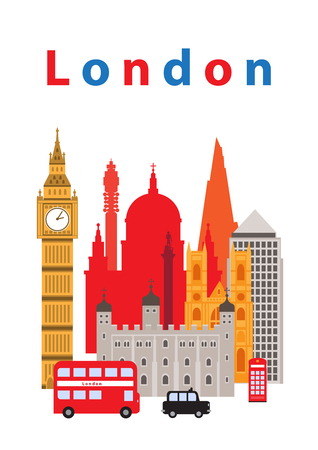 phone box: A vector illustration of London city,  and some of its landmark architecture.