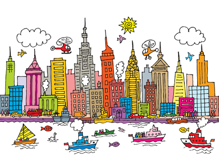 hudson river: A cartoon style, vector illustration of New York, City.