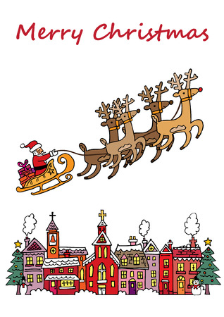 snow covered: A Christmas scene with Santa on his sleigh, flying over a snow covered village.