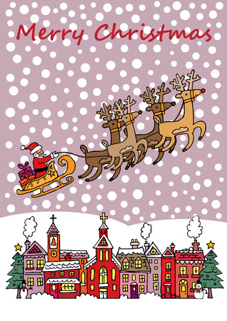 snow covered: A Chistmas scene with Santa on his sleigh, flying over a snow covered village.
