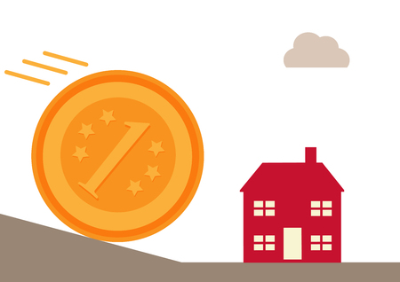 home finances: A large coin rolling down a hill on a collision course with a house. A metaphor on home finances and repayments. Illustration