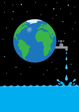 waste money: An image of Earth with a tap leaking water in space. A metaphor on global water waste. Illustration