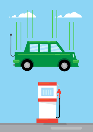 green fuel: A green coloured electric car with a connection cable falls onto a fuel pump. A metaphor on the rise of electric cars and efficiancy.