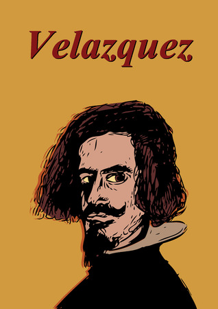 velazquez: A hand drawn illustration of the Spanish painter, Velazqauz. Illustration