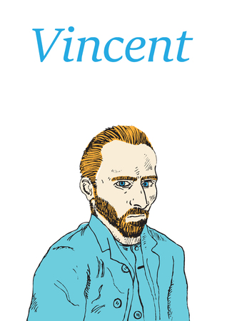 A hand drawn vector illustration of the Dutch artist, Vincent Van Gogh. 向量圖像