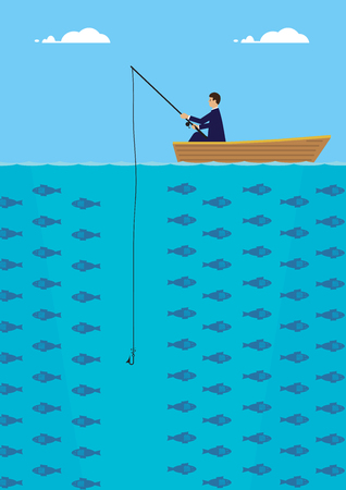 bite: A businessman in a boat who is fishing but not getting a bite. A metaphor on being unsuccessful.