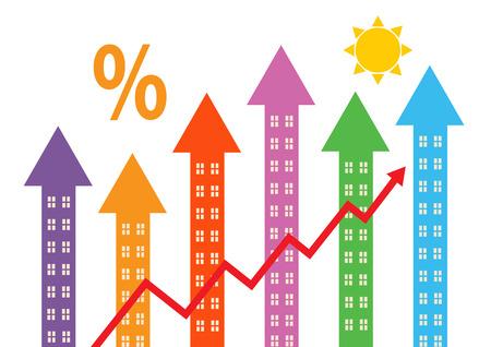 property: Rising colourful arrow shapes with windows to symbolise property market rising. Illustration