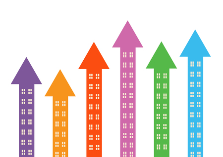 upturn: Rising colourful arrow shapes with windows to symbolise property market rising. Illustration