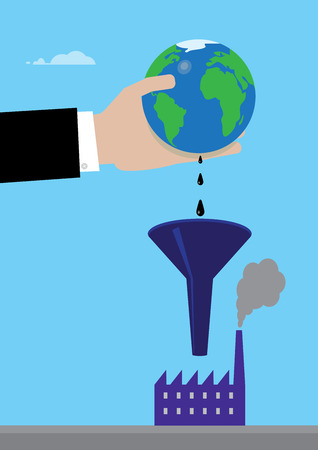 commerce and industry: A metaphor on global oil consumption. A hand squeezing a ball sized earth and oil drips into a funnel and then into a factory.