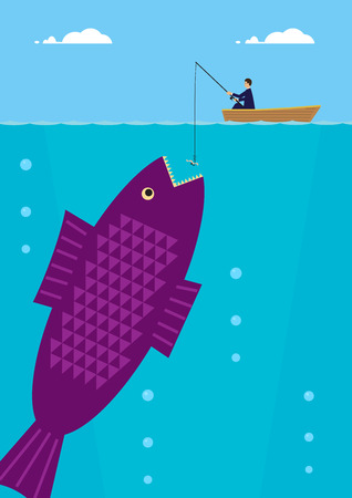 business metaphor: A businessman is fishing on a small boat, beneath him is an enormous fish. A metaphor on success in business. Illustration